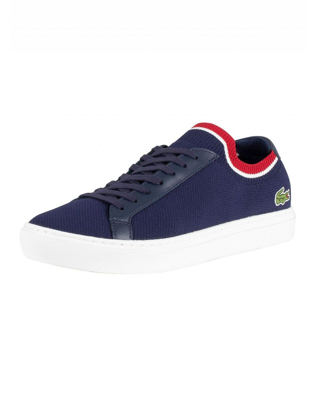 c6fdb5a8fd Lacoste Navy white red La Piquee 119 1 Cma Trainers in Blue for Men ...