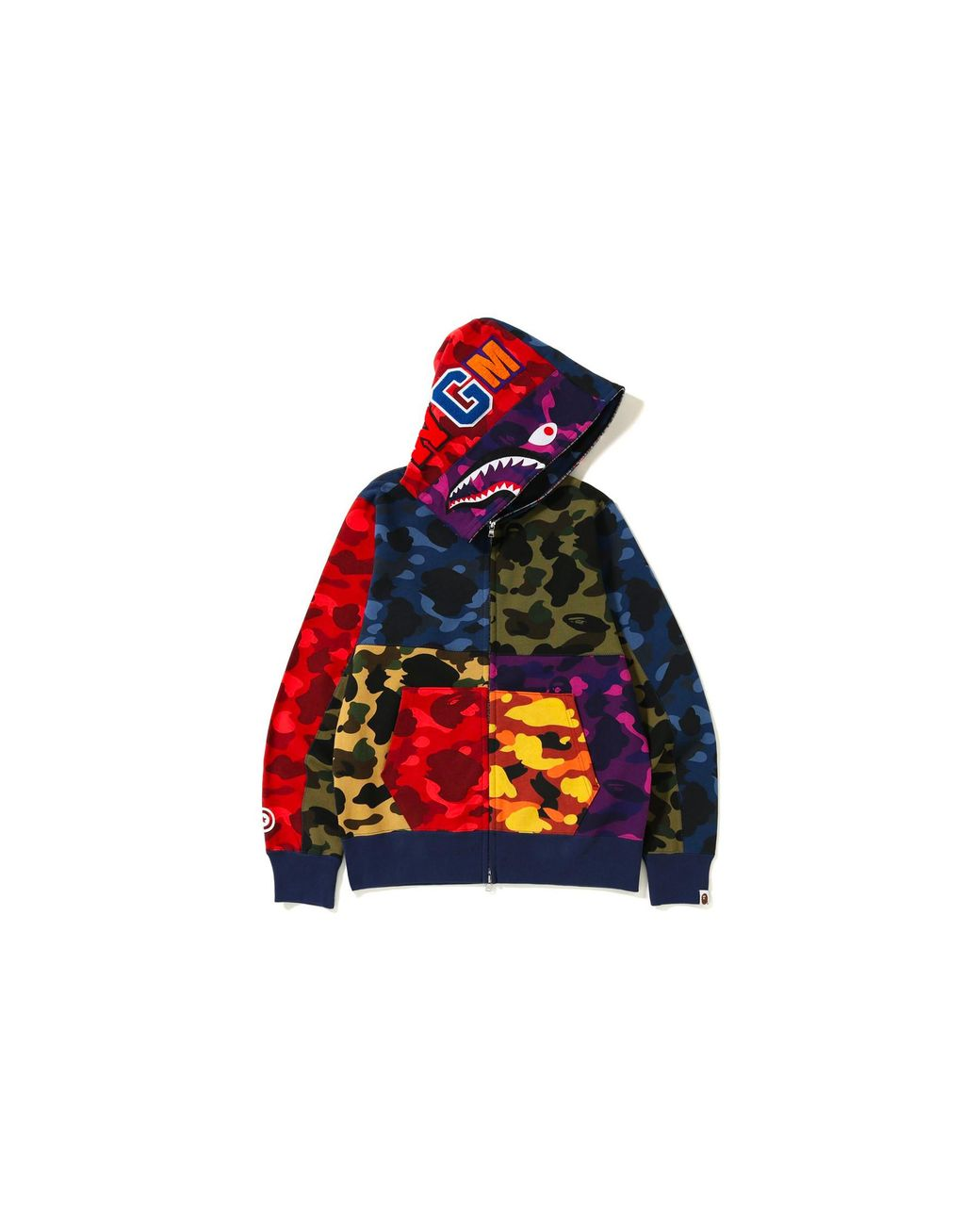 dac1b8f6d439 Long-Touch to Zoom. A Bathing Ape - Red Mix Camo Shark Hoodie Multi ...