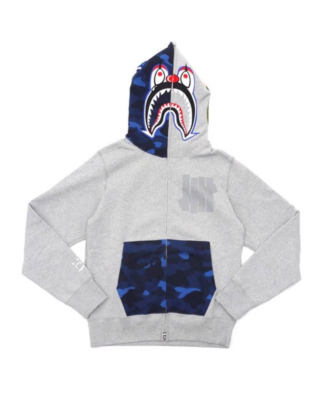 8996d63e A Bathing Ape X Undefeated Mr Cartoon Color Camo Hood/pocket Full Zip Clown Shark  Hoodie Grey/blue in Gray for Men - Lyst