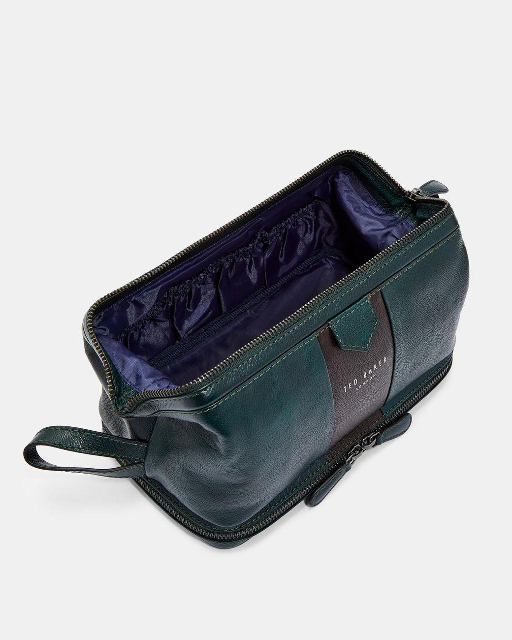 312bdb545 Lyst - Ted Baker Eyez Striped Leather Washbag in Green for Men