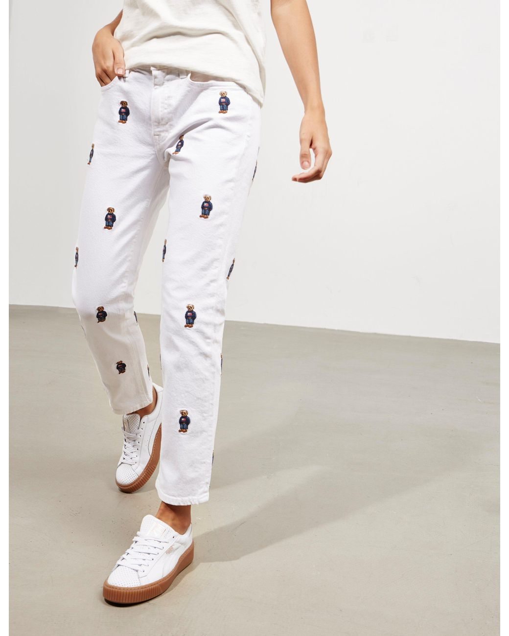 39bc27cb60 Polo Ralph Lauren Cropped Bear Jeans - Online Exclusive White in ...