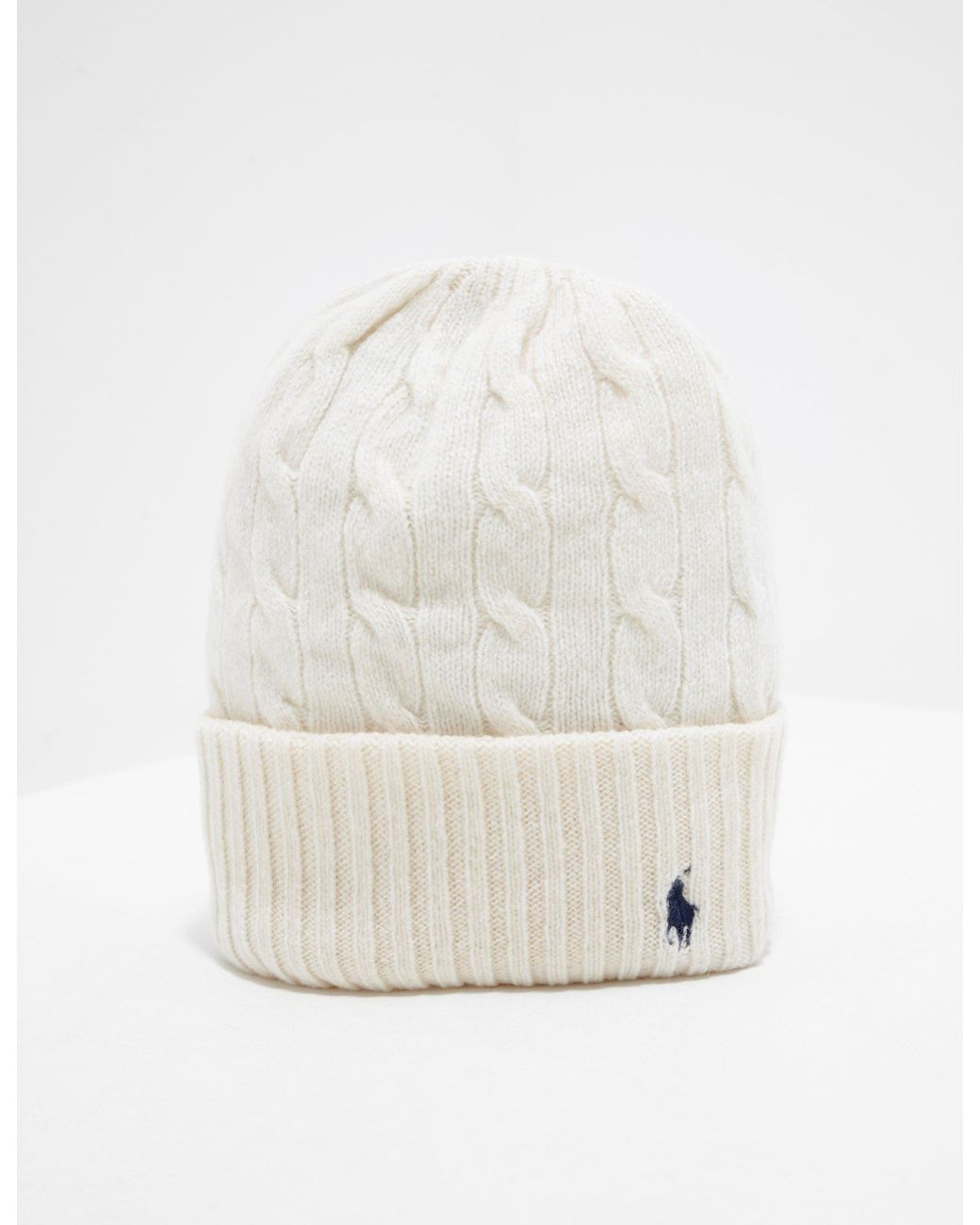 9686f068192 Polo Ralph Lauren Wool Beanie Cream in Natural - Save 52% - Lyst