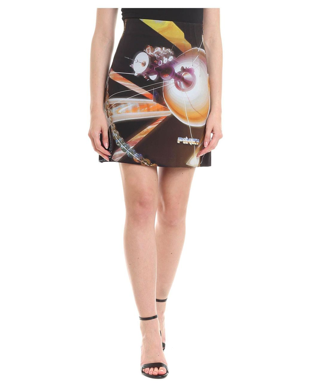 3c8733b191 Pinko Ottocento Black Skirt With Space Print in Black - Lyst