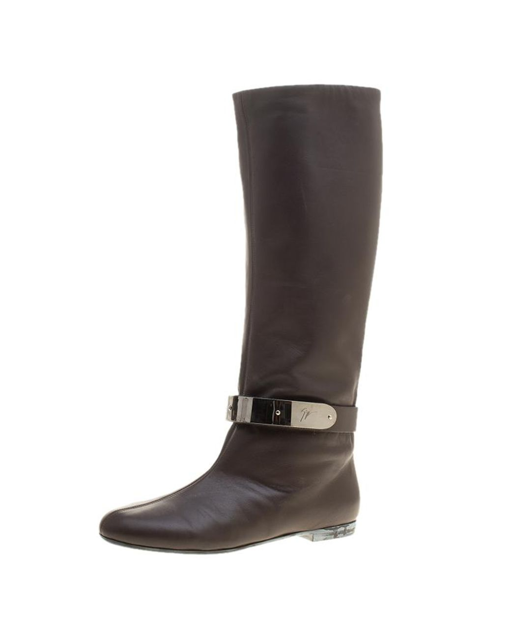 9ca96efdfaee0 Giuseppe Zanotti. Women's Brown Leather Logo Plaque Flat Over The Knee Boots  ...