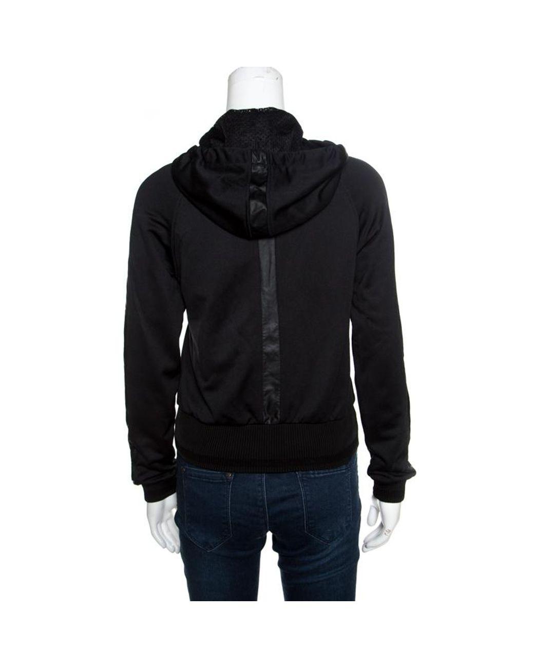ac8910fa596 Roberto Cavalli Gym Black Knit Faux Leather Trim Hooded Sweatshirt S in  Black - Lyst