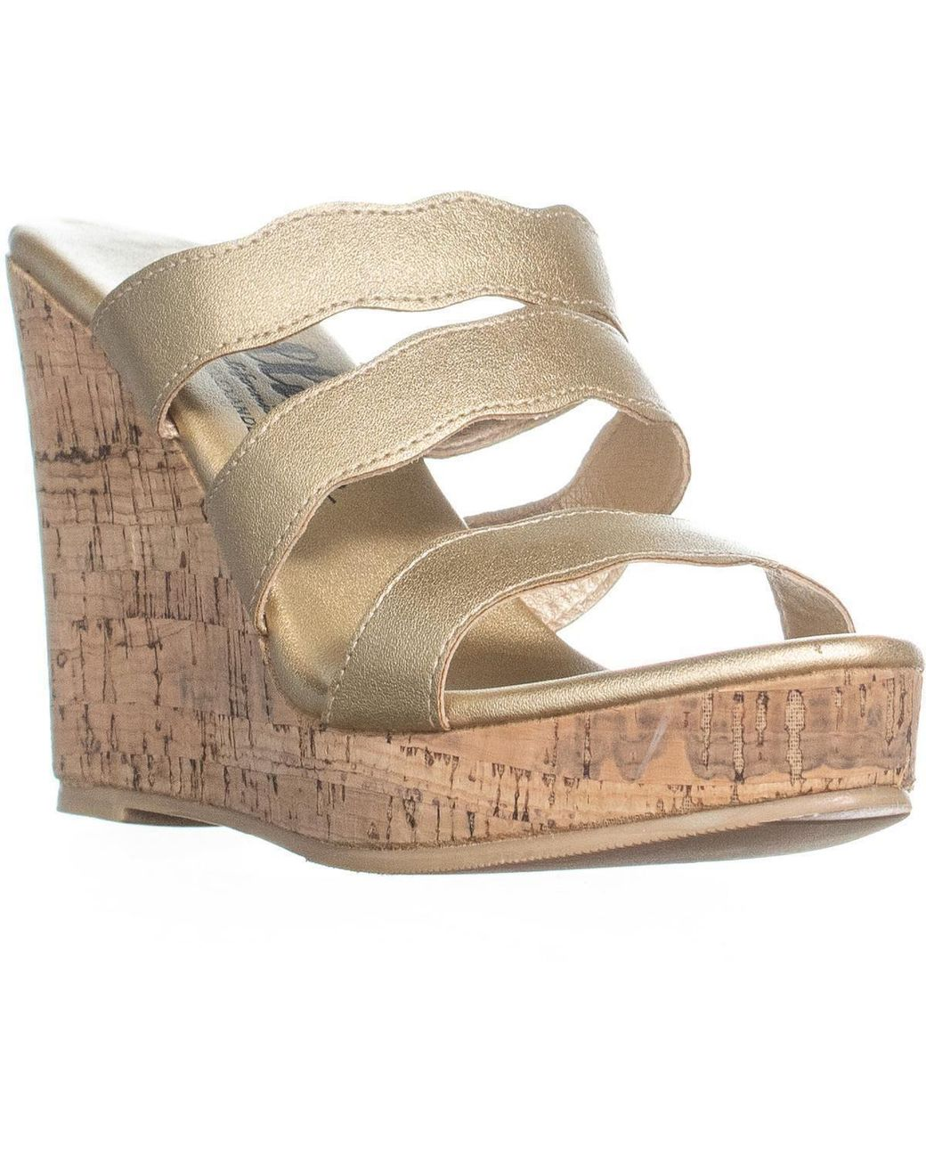 7734c0a7524a Lyst - Callisto Flure Triple Strap Wedge Sandals in Metallic - Save 60%