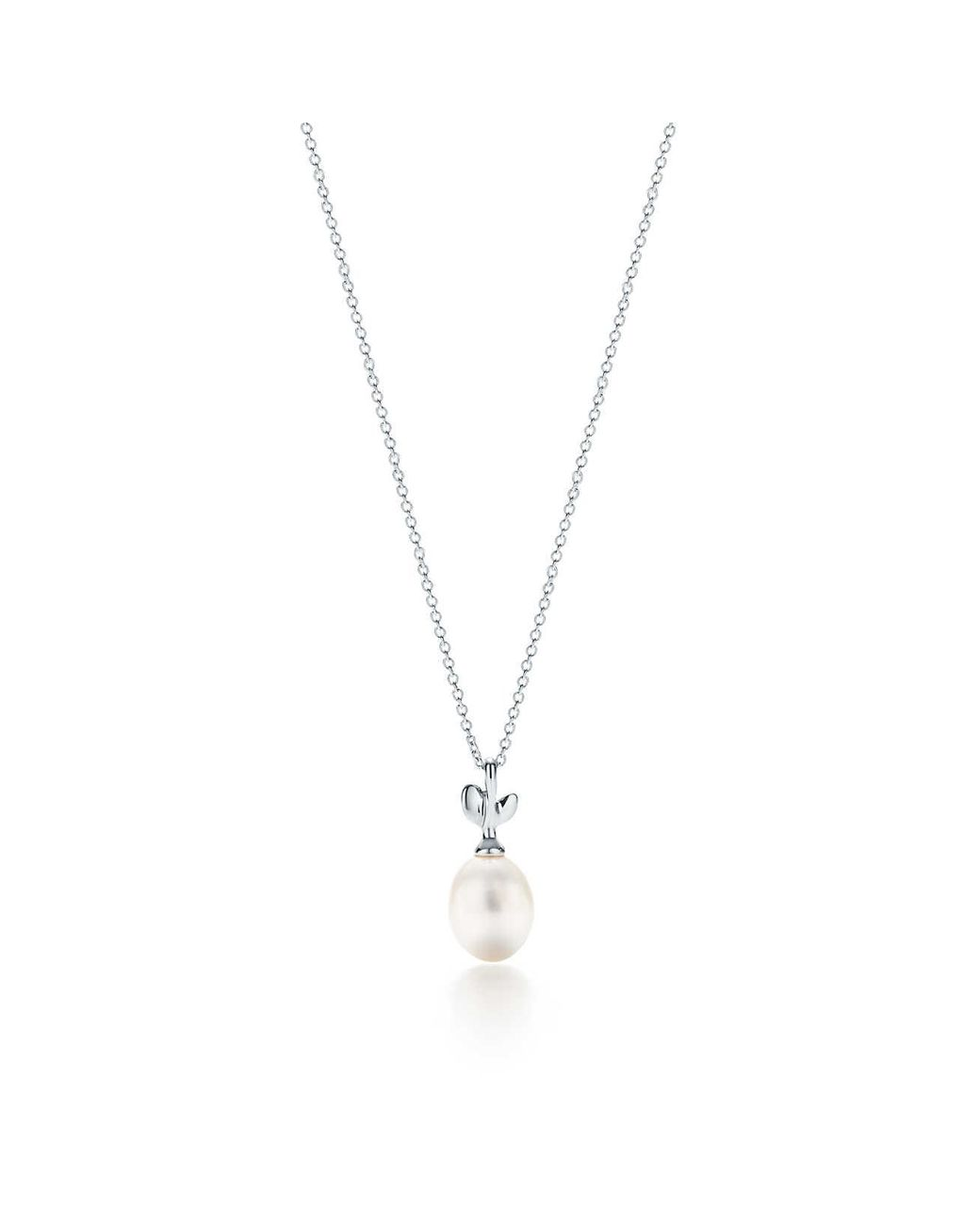cf01b94c2 Tiffany & Co. Paloma Picasso® Olive Leaf Pendant In Sterling Silver With A  Cultured Pearl in Green - Lyst