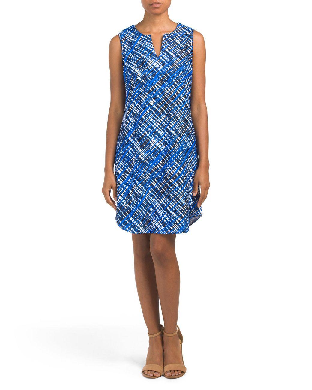 664ce78a20f8 Tj Maxx Made In Usa Allison Split Neck Shift Dress in Blue - Lyst