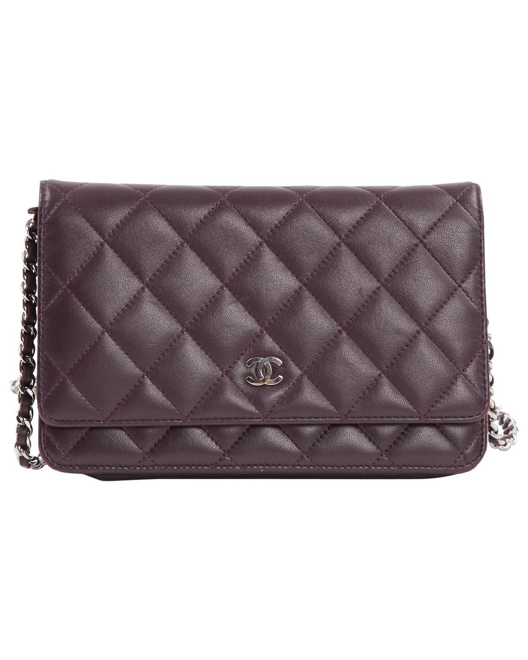 e9c999254bf0 Lyst - Chanel Wallet On Chain Purple Leather Handbag in Purple