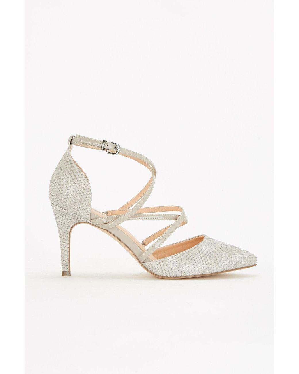 3ca172230 Wallis Light Grey Multi Strap Mid Heel Court Shoes in Gray - Lyst