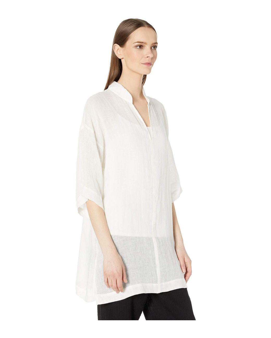 62816b33193 Eileen Fisher Organic Linen Gauze Stand Collar Tunic (white) Women's  Clothing in White - Lyst