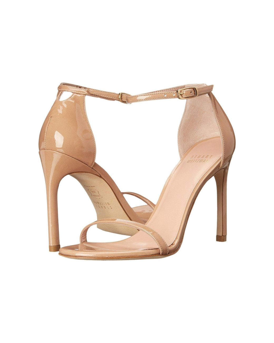 251598f2dcf Stuart Weitzman. Women s Natural  nudist Song  Ankle Strap Patent Leather  Sandals