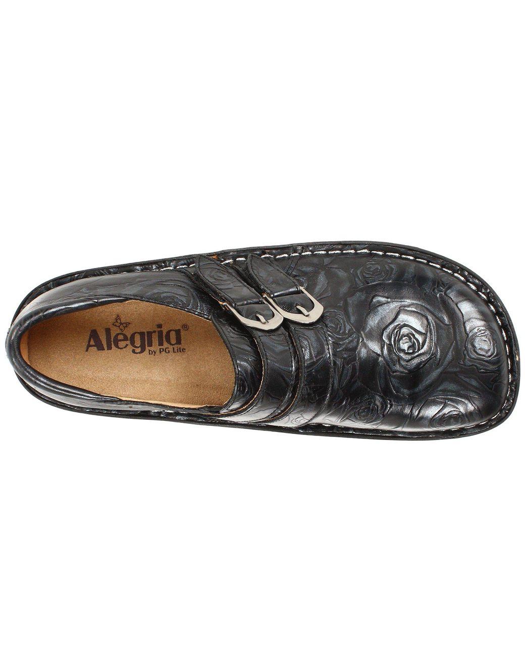 88a8e362a2ff Lyst - Alegria Alli Professional (black Silver Rose) Women s Clog Shoes in  Black - Save 25%