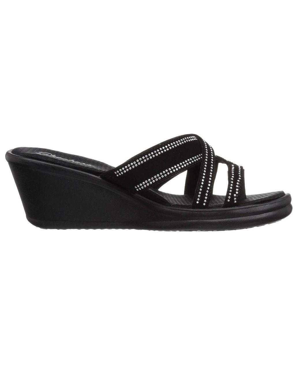 50393459a575 Lyst - Skechers Rumblers-cali Spell-studded Multi Strap Slide With Memory  Foam Wedge Sandal in Black - Save 3%