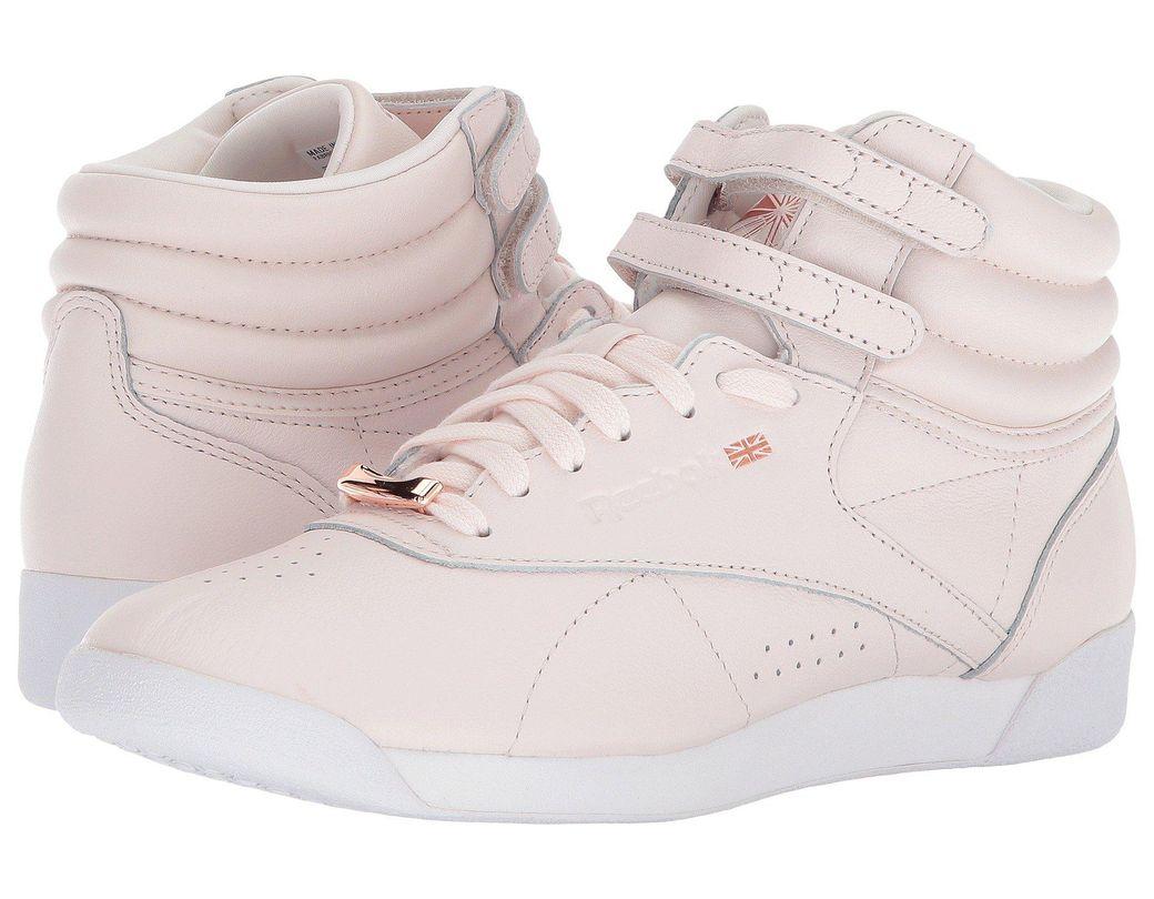 edac5edc9ba0a Lyst - Reebok Freestyle Hi Muted in Pink - Save 12%
