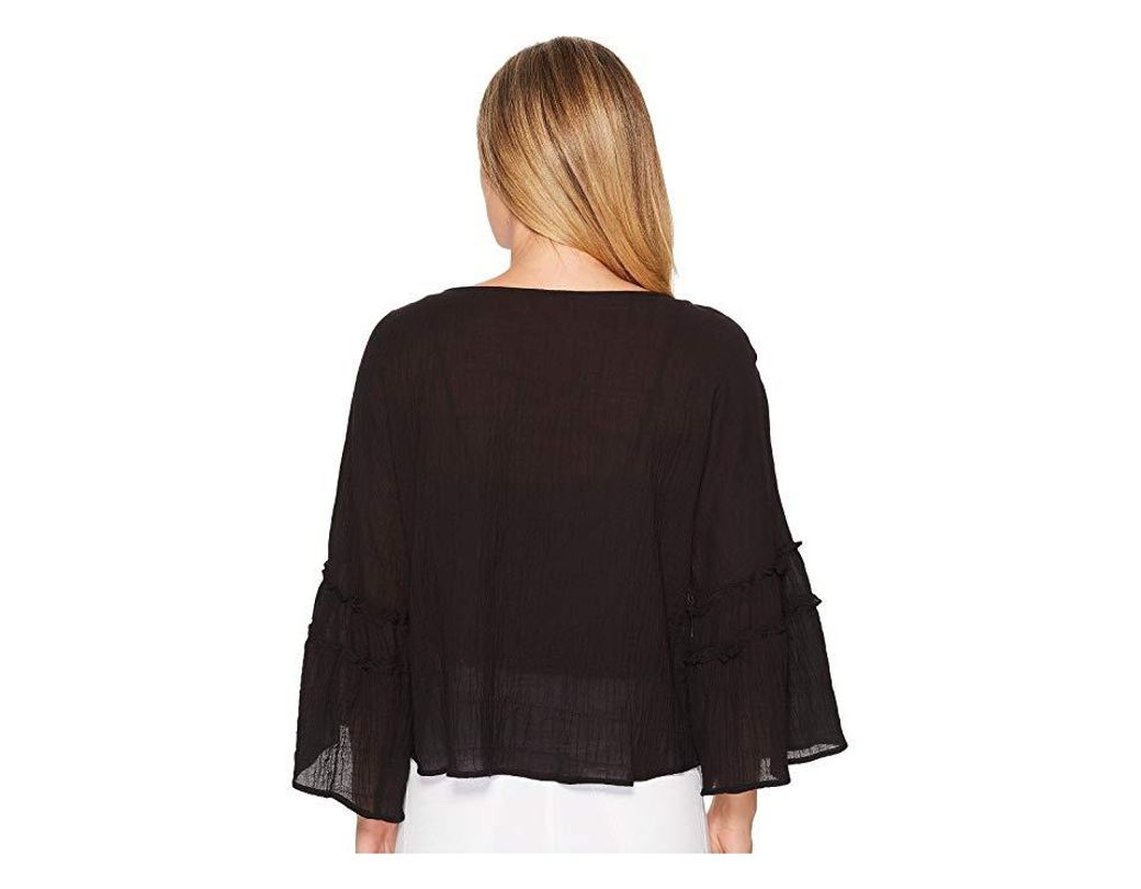 ee8b9b5aa183ac Two By Vince Camuto Crinkle Cotton Pleated Sleeve Blouse (rich Black) Blouse  in Black - Save 56% - Lyst