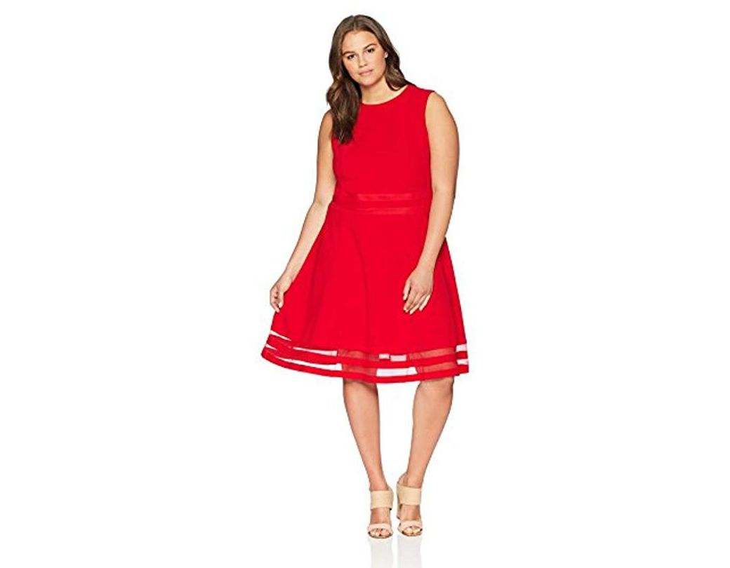 6e50ba55bd8 Calvin Klein Plus Size Sleeveless Round Neck Fit And Flare Dress With Sheer  Inserts At Hem in Red - Lyst