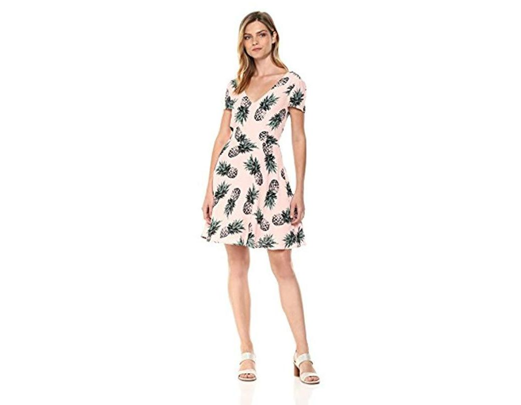 5e6d371dedb Lyst - BB Dakota Leni Pineapple Print Fit And Flare Dress in Pink ...