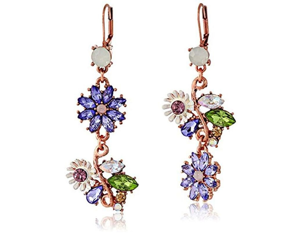 9539f71dc Betsey Johnson Spring Fling Faceted Bead Flower Mismatch Drop Earrings in  Purple - Lyst