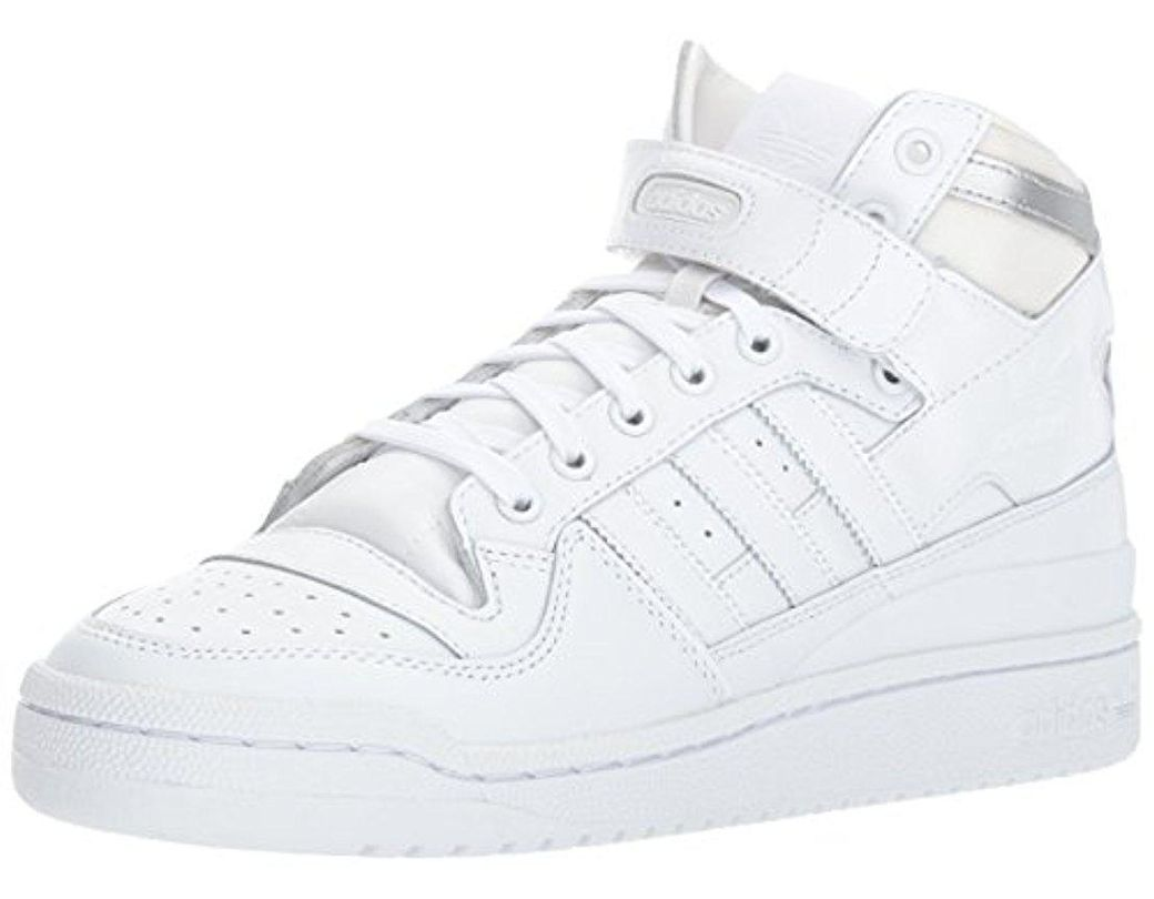3bc1396fedab7 Lyst - adidas Originals Forum Mid Refined Fashion Sneaker in White ...
