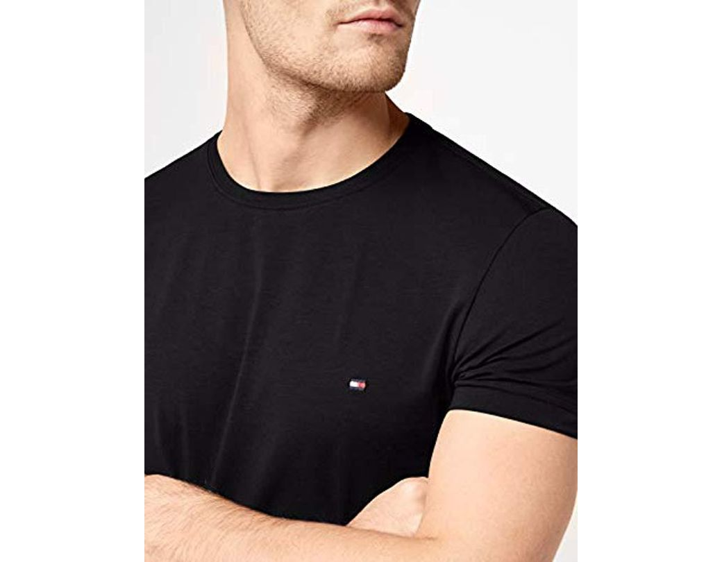1ed12537 Tommy Hilfiger Core Stretch Slim Cneck Tee T-shirt in Black for Men - Lyst
