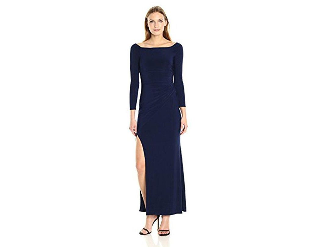 090c1422315 Laundry by Shelli Segal. Women's Blue Off The Shoulder Matte Jersey Gown