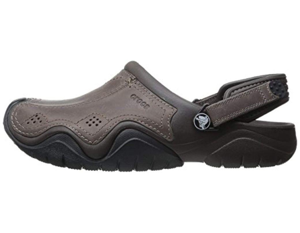 słodkie tanie kupować najnowsza zniżka Crocs™ Swiftwater Leather Clog in Black for Men - Lyst