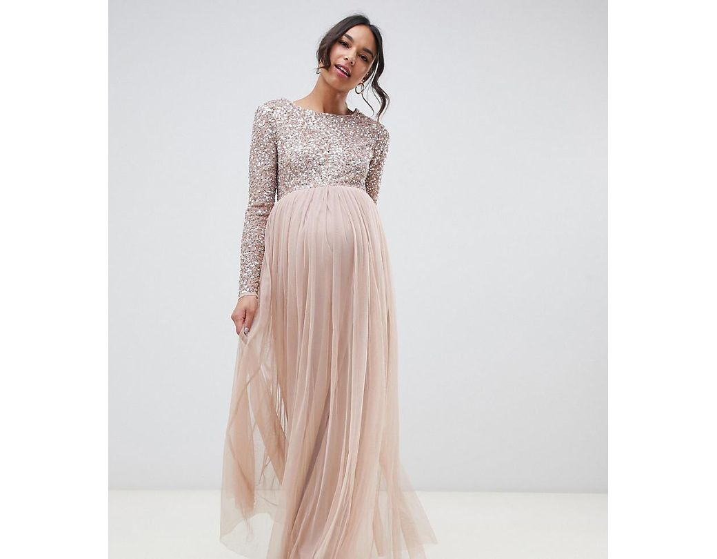 5eb539db046 Bridesmaid Maxi Dress Long Sleeve
