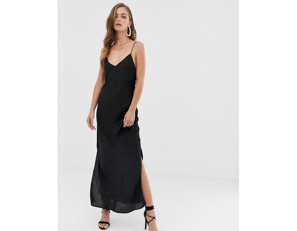 17a5c8fc939e4 ASOS Satin Cami Maxi Slip Dress in Black - Lyst