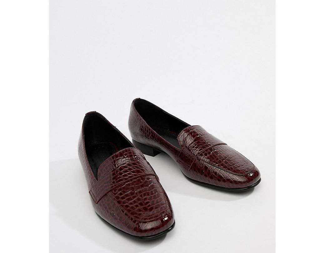 58b9a631e Lyst - ASOS Milestone Loafer Flat Shoes In Croc in Red