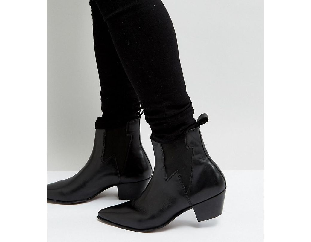 475bf60a2ee6 Lyst - ASOS Wide Fit Cuban Heel Western Boots In Black Leather With ...
