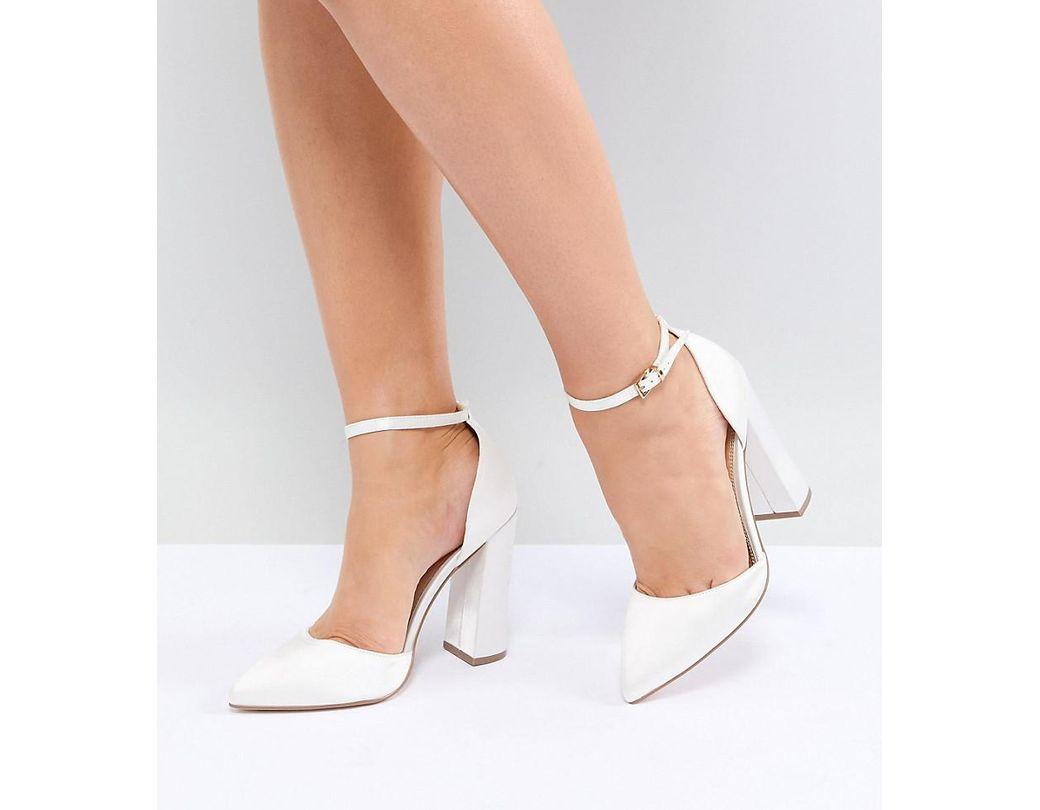0754ea09cf3e Lyst - ASOS Pebble Wide Fit Bridal Pointed High Heels in Natural