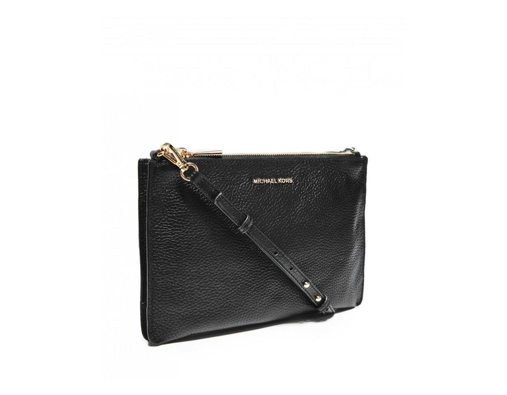 1afe2c0165ef MICHAEL Michael Kors. Women s Black Pebbled Leather Double Pouch Crossbody  Bag