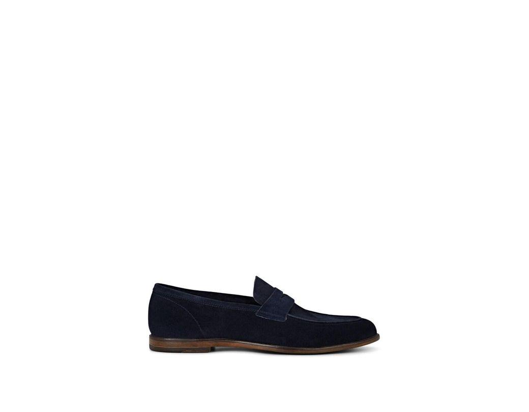 8cf63acba0402 Lyst - Barneys New York Dakota Suede Penny Loafers in Blue for Men