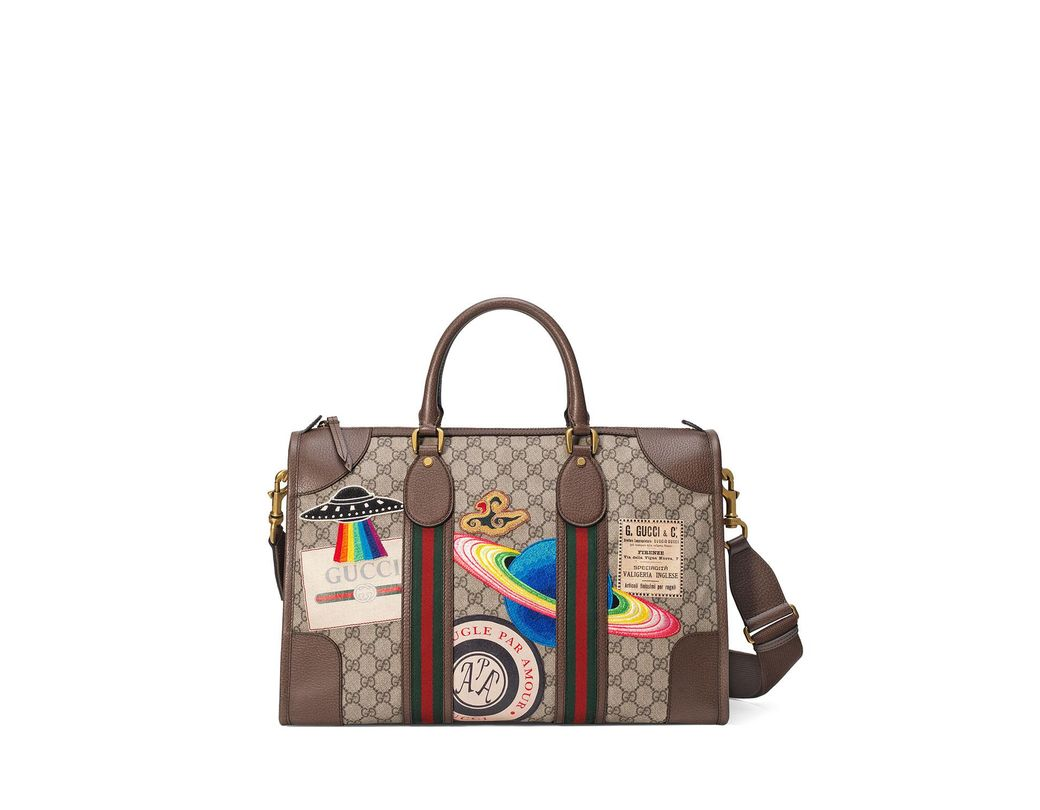 76e69cf2bbb Lyst - Gucci Courrier Soft GG Supreme Duffle Tote Bag in Natural