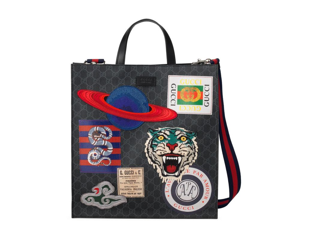 de1a3ae44814 Lyst - Gucci Men s GG Supreme Tote Bag With Patches in Black