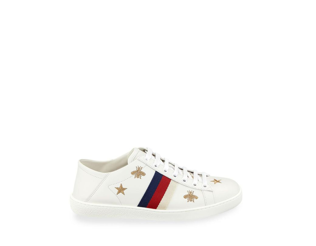 34d1fa605bb Gucci Ace Star   Bee Fold-down Sneakers in White - Lyst