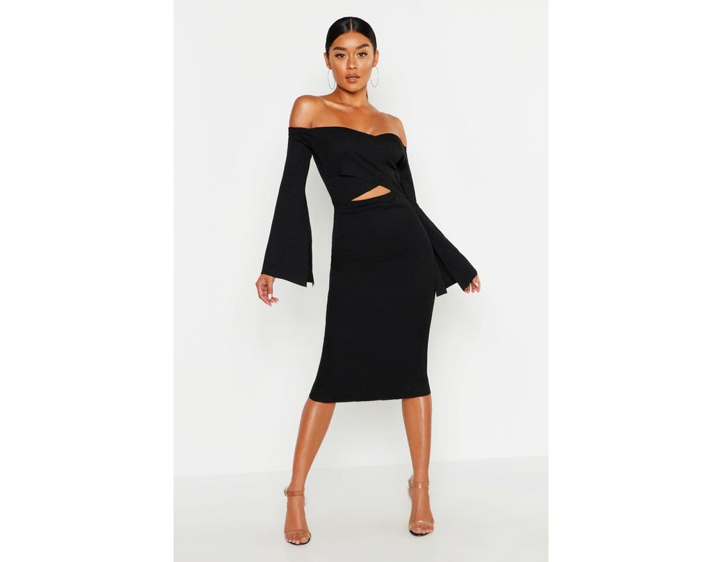 b63dfe7baec Boohoo Bardot Split Sleeve Rib Bodycon Midi Dress in Black - Lyst