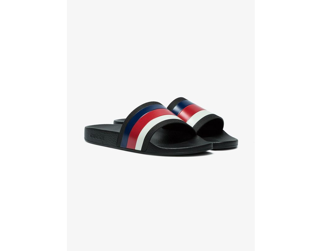 44558caee24 Lyst - Gucci Web Slide Sandals in Black for Men