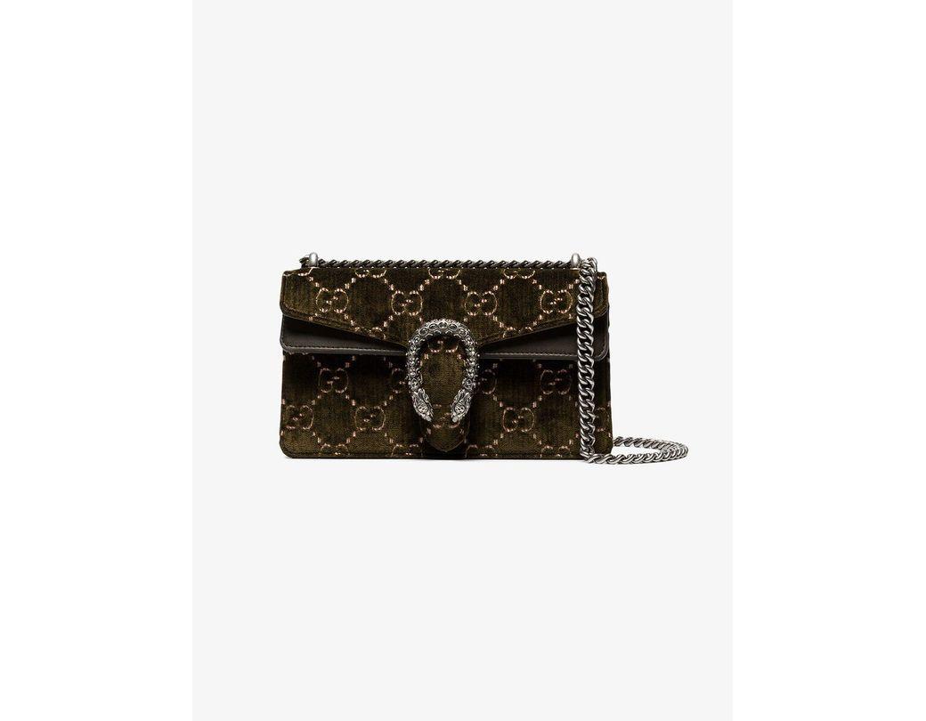cdb69366463 Lyst - Gucci Green Dionysus GG Small Velvet Shoulder Bag in Green
