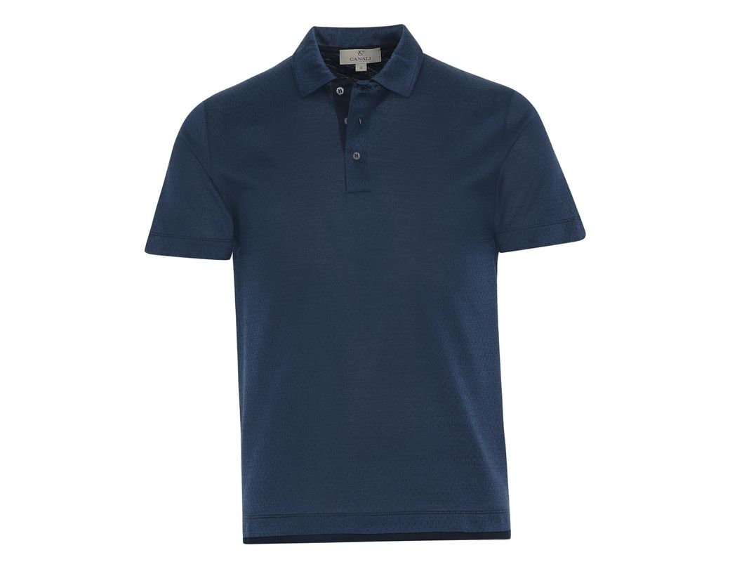 22f844ec307 Canali Dark Blue Mercerized Cotton Polo Shirt With Micro-motif in Blue for  Men - Lyst