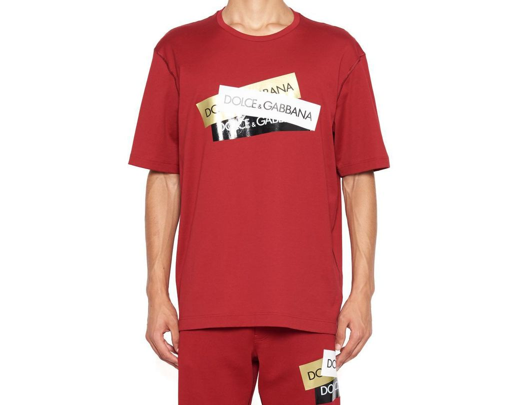 c8af638d8 Lyst - Dolce & Gabbana Logo T-shirt in Red for Men - Save 12%