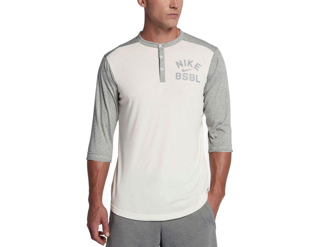 1182b1ef3e577 Lyst - Nike Flux 3⁄4 Sleeve Henley Baseball Top in Gray for Men