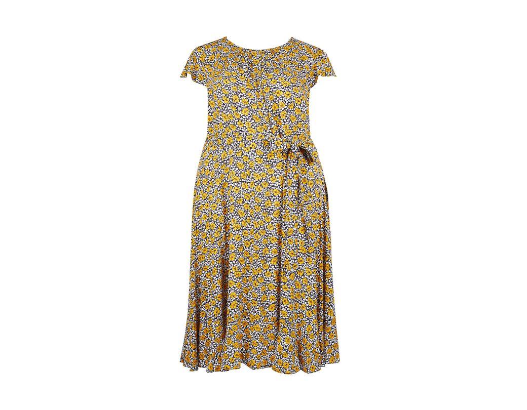 fd15a7d41a Dorothy Perkins Billie   Blossom Curve Multi Colour Floral Print Midi  Skater Dress in Orange - Lyst