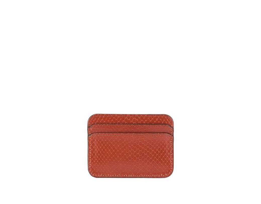 78d52c9af4dd90 Chloé Logo Watersnake Effect Cardholder in Brown - Lyst