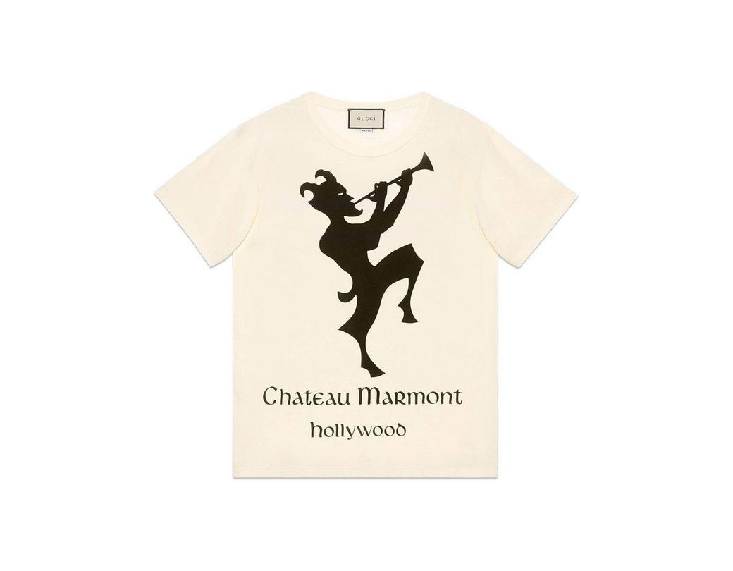 8e3f4d43023 Gucci Oversize T-shirt With Chateau Marmont Print in White - Lyst