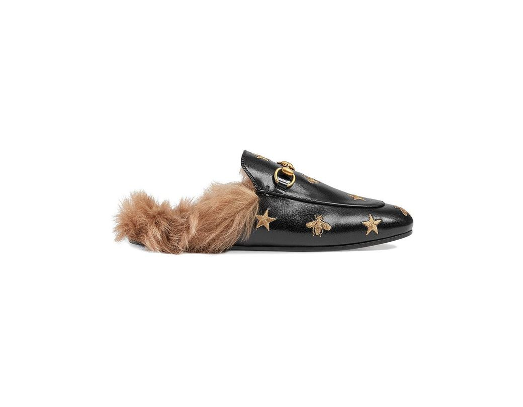 00232d5ed23 Lyst - Gucci Princetown Embroidered Leather Slippers in Black - Save 15%
