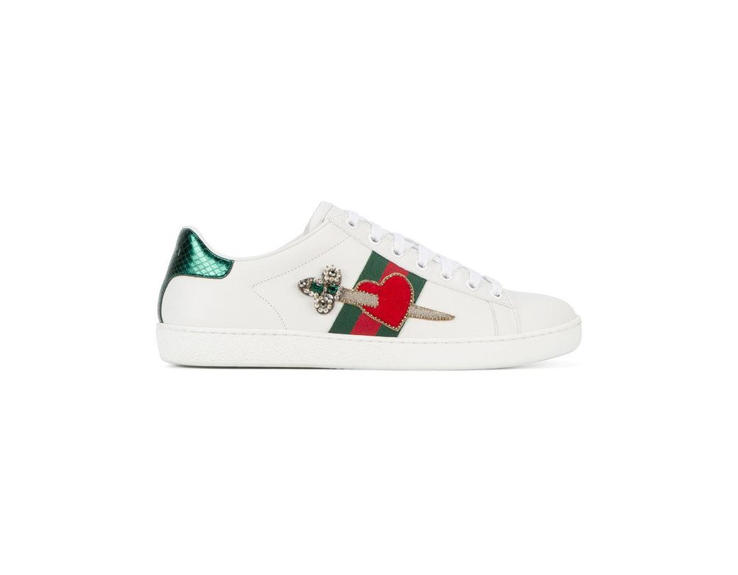 ae8b38630f9d Lyst - Gucci Heart Dagger Ace Sneakers in White - Save 30%