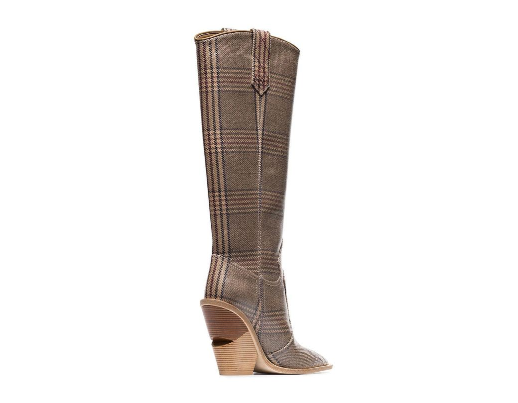 70692113042 Women's Brown And Blue Cutwalk Check 100 Leather Boots