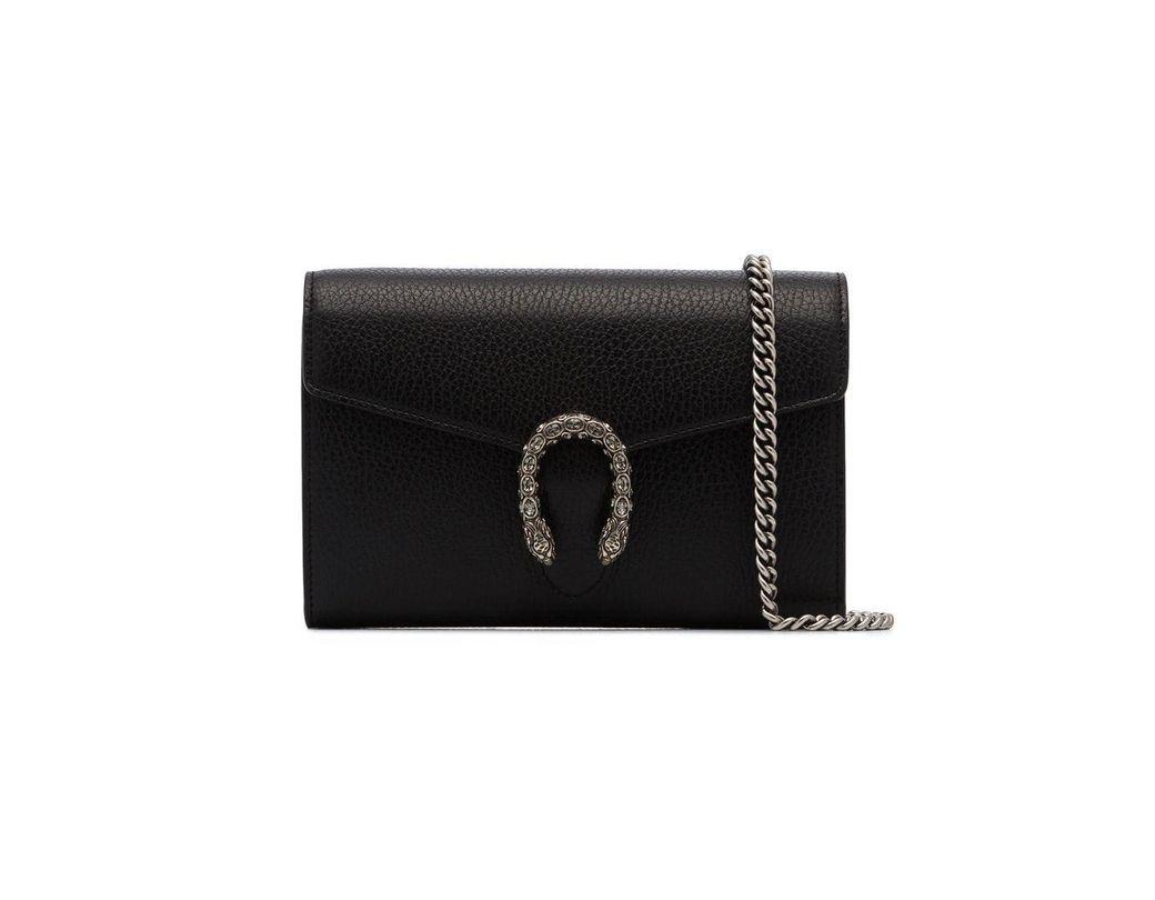 e52f320413d4 Gucci Black Dionysus Mini Chain Leather Bag in Black - Save 10% - Lyst